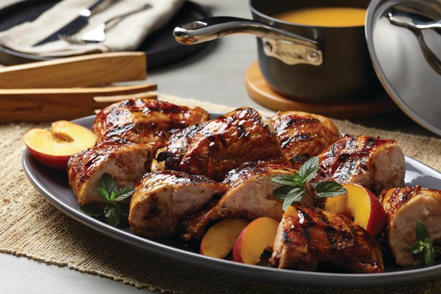 Grilled Chicken Breasts with Peach-Bourbon Barbecue Sauce