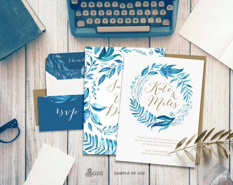 Blue Floral Invitations