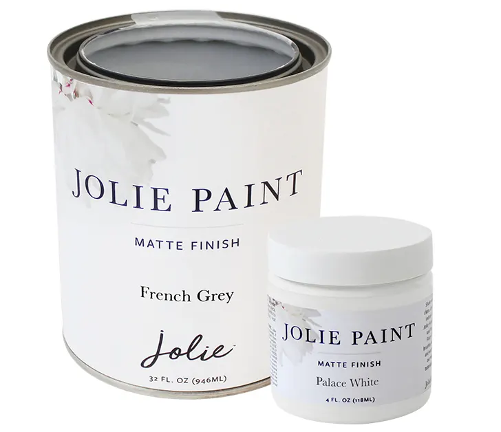 Jolie Paint French Grey Quart and Palace White 4oz Sample