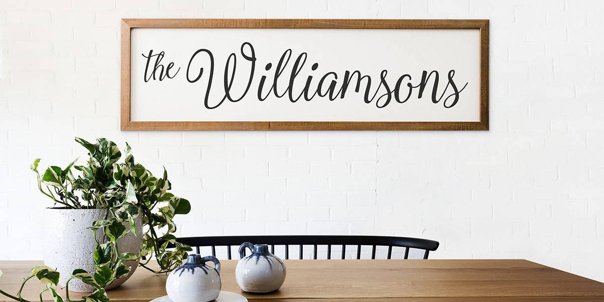 custom wood framed signs