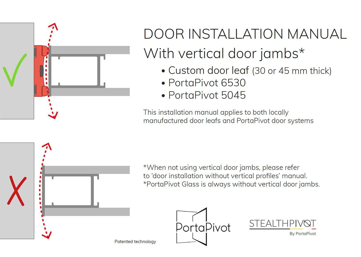 Portapivot 5045 installation manual with vertical door jambs