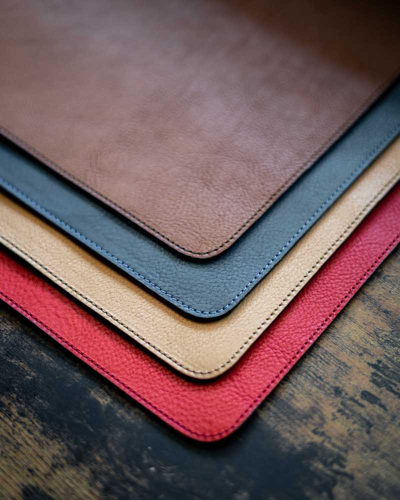 leather desk pads in different colors
