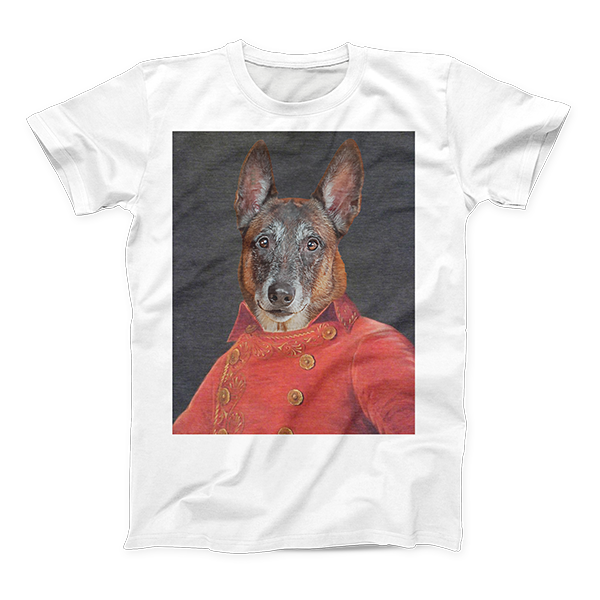 dog renaissance colonial art on mens shirt