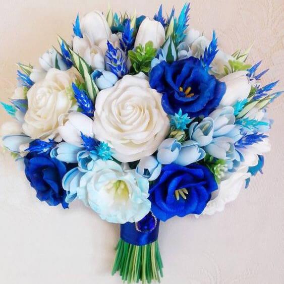 Handmade blue bouquet