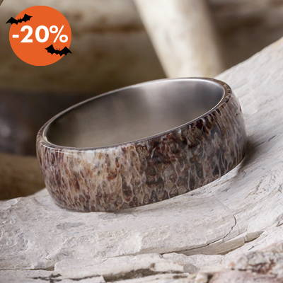 antler men's wedding band
