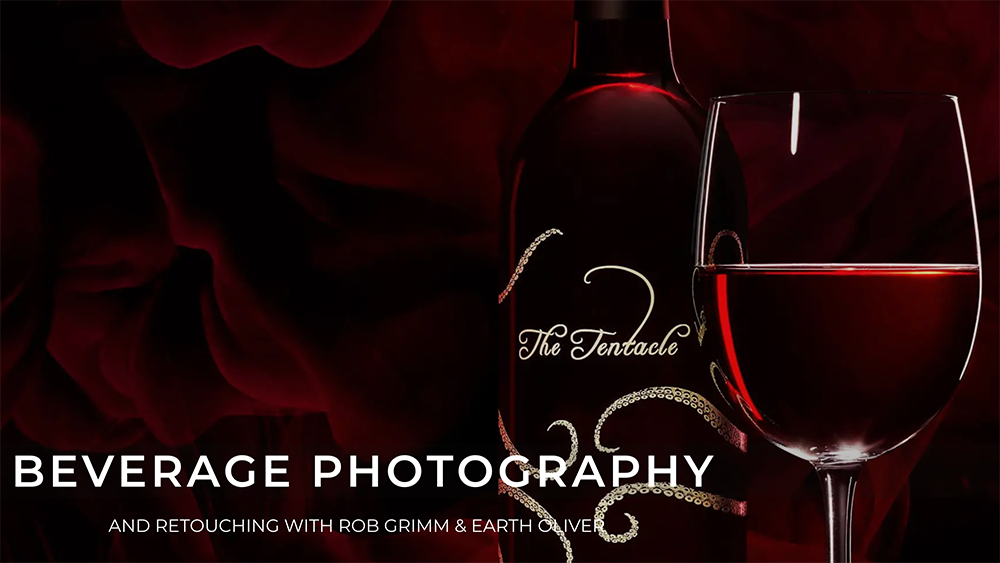 Beverage Photography product image with wine and rose petals