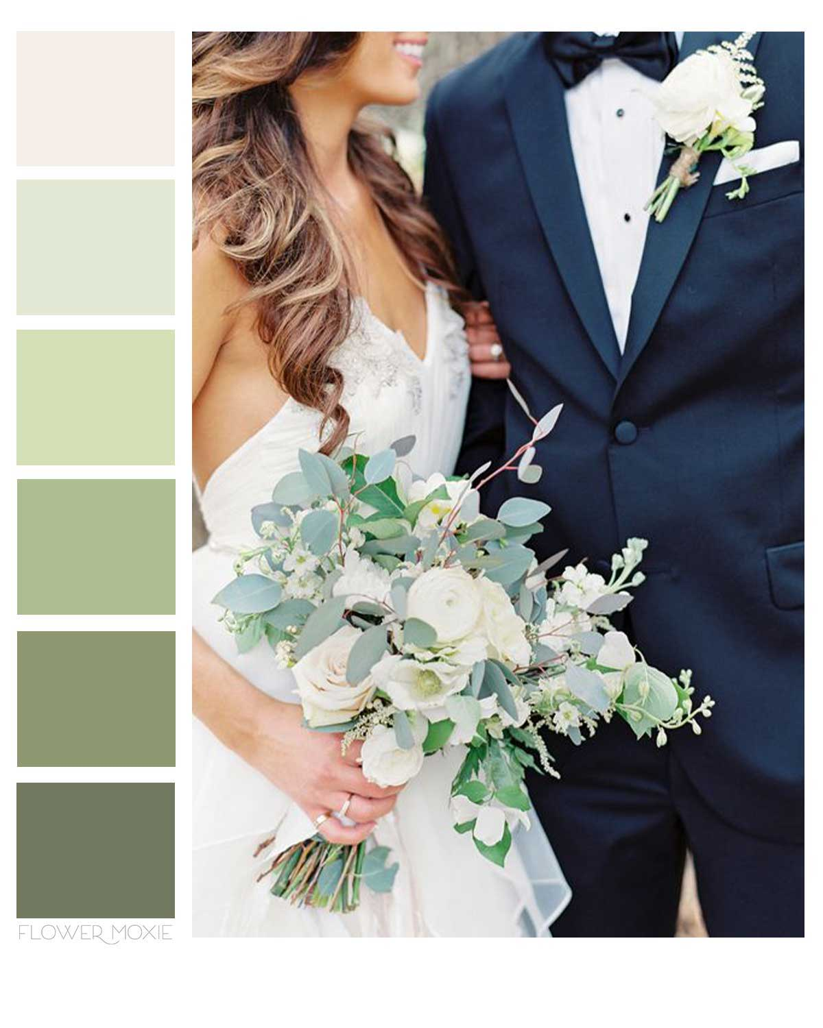 Cream and eucalyptus wedding flower packages