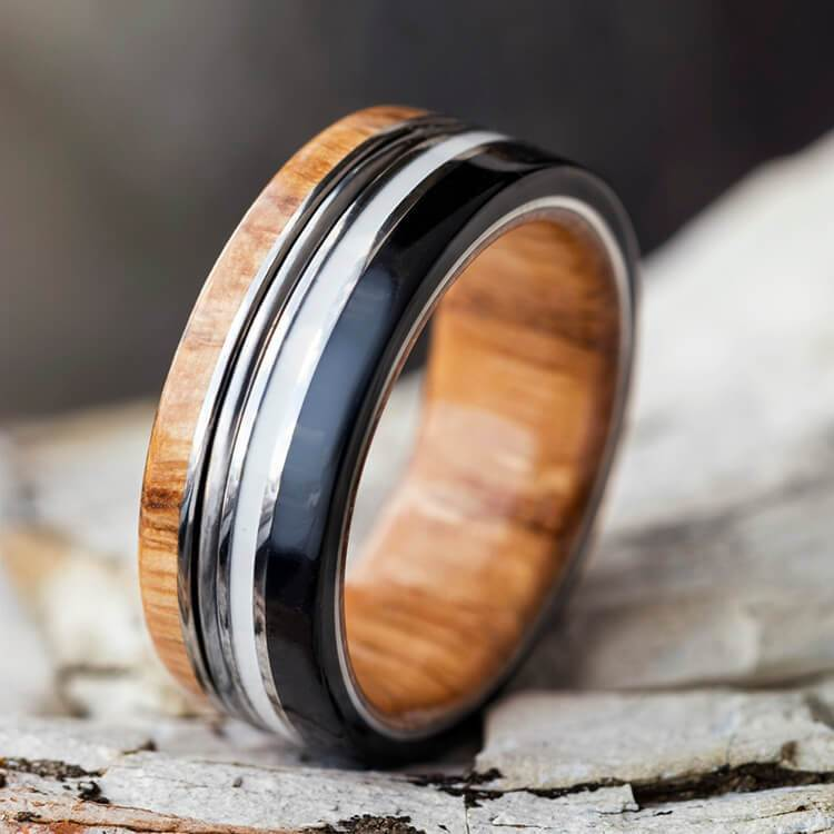 Piano String Ring, Unisex Wedding Band, Wood Ring