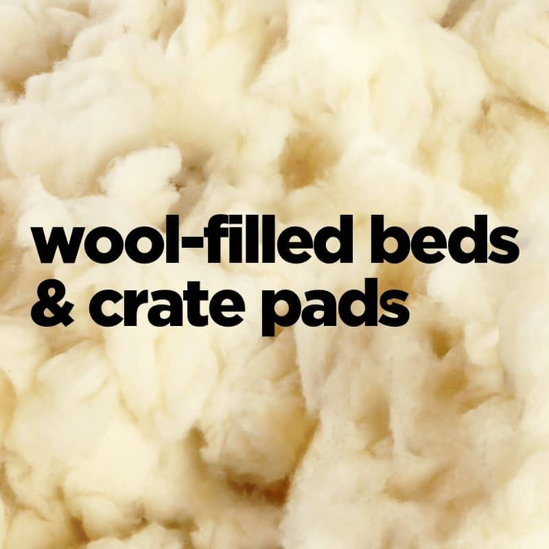 wool-filled crate pads and dog beds