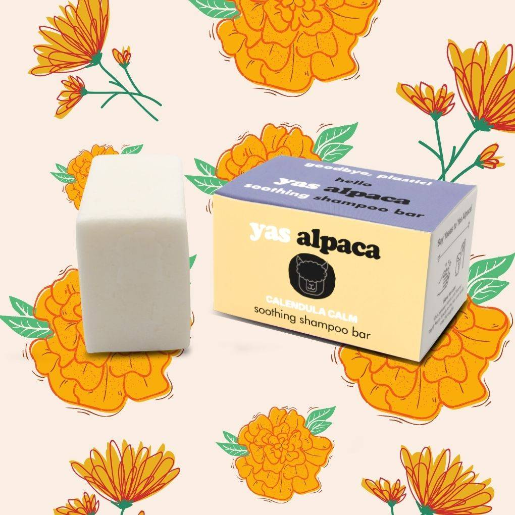 Yas Alpaca Calendula Calm shampoo bar yellow and purple  packaging featured with white bar
