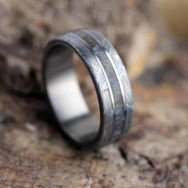 Meteorite and Dino Bone Ring