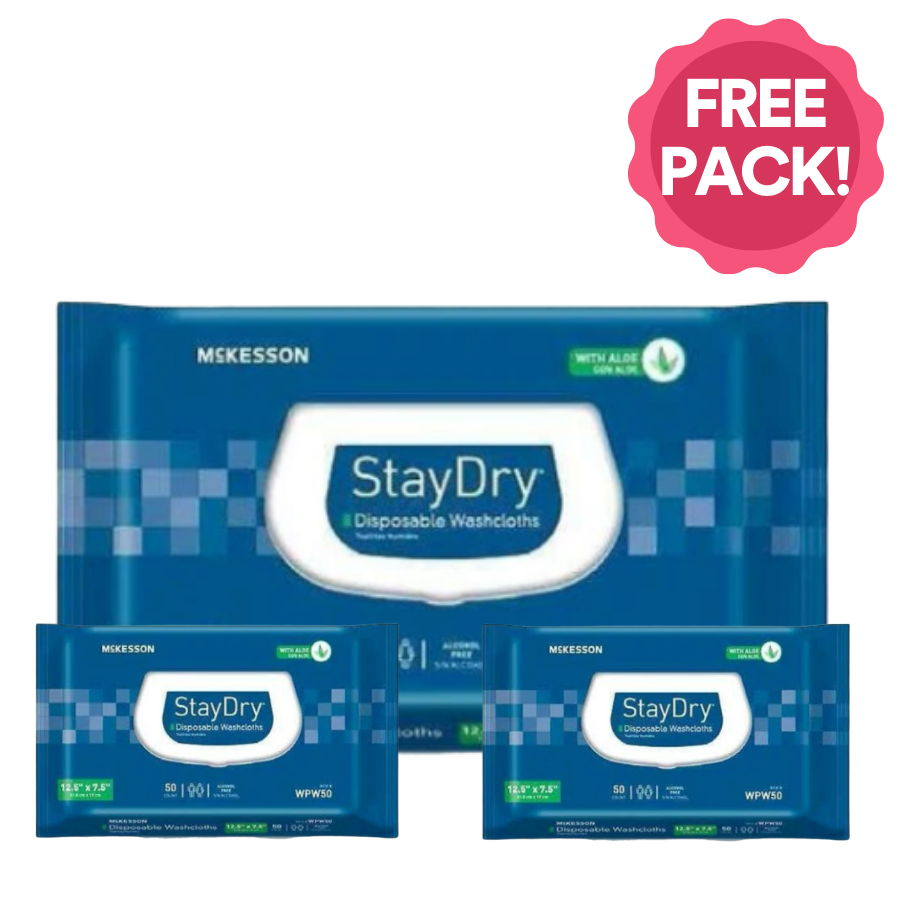 Free Pack of McKesson StayDry Personal Wipes