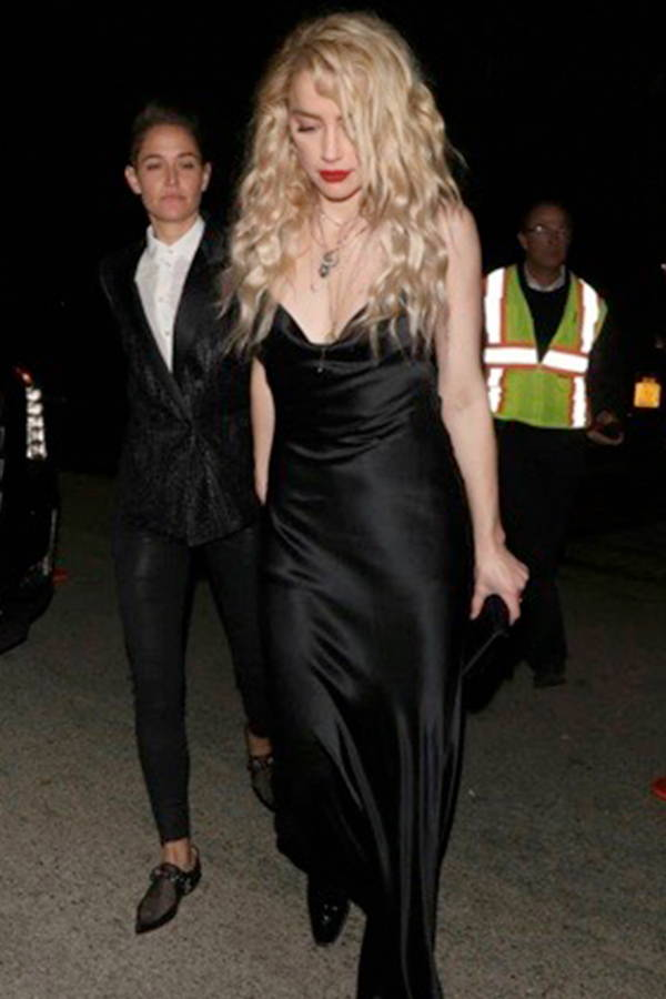 Amber Heard wears Galvan London Silk Backless Black Dress