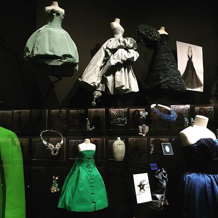 Dior's Theater de la Mode, miniature ballgown designs in blue and green