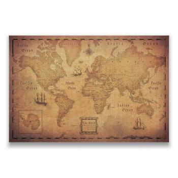 World Travel Map Push Pin Map w/Push Pins - Golden Aged