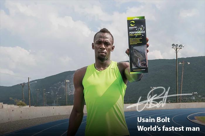 Usain Bolt endorsing Enertor insoles