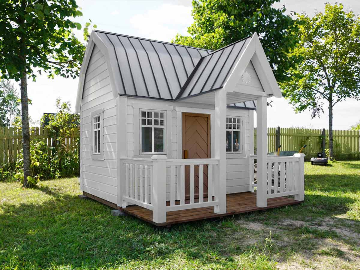 Wooden Playhouse in white and black colour with a Gambrel Roof and wooden porch by WholeWoodPlayhouses