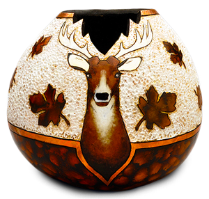 Gourd pot with deer crafted by Krystal Garrido