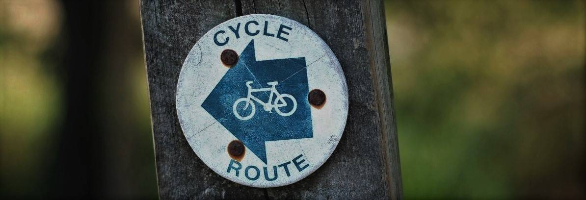 A cycle route marker