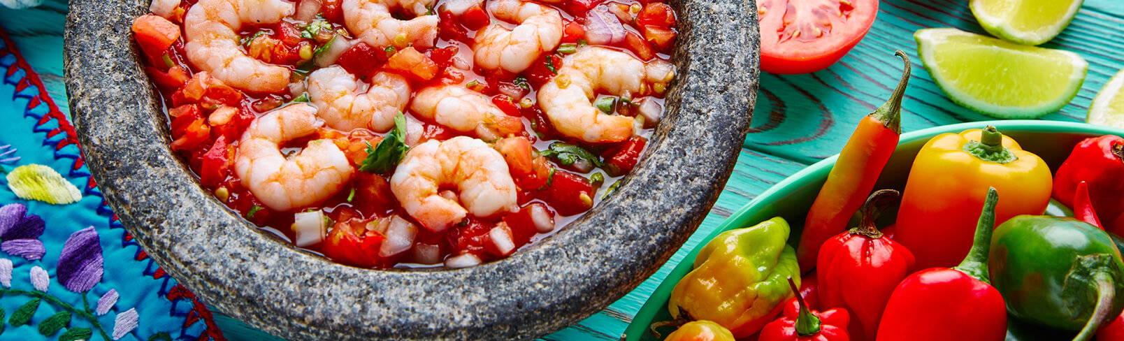 High Quality Organics Express shrimp ceviche in bowl