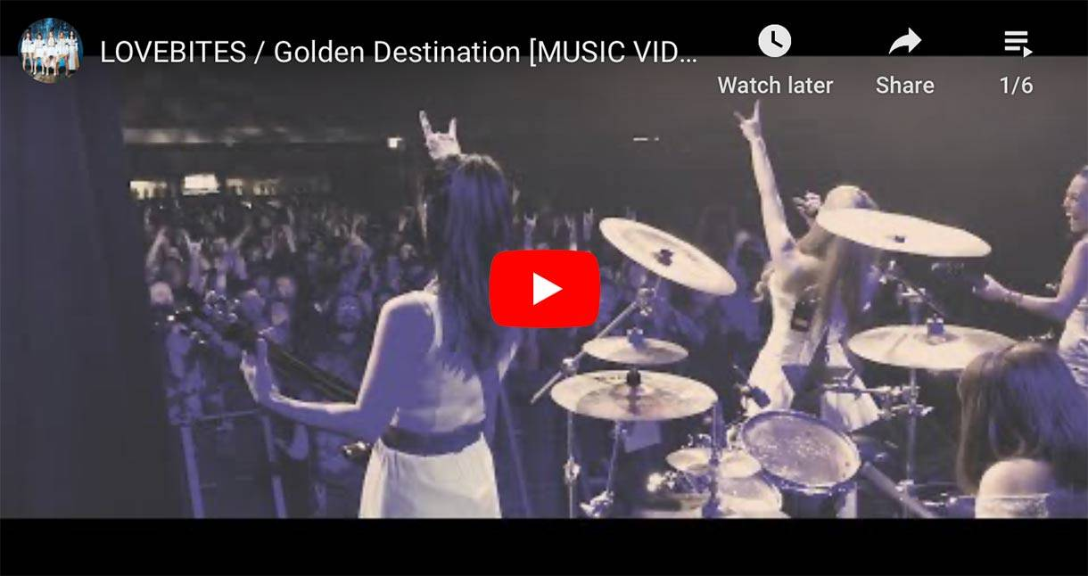 Japanese heavy metal girl band Lovebites Golden Destination music video thumbnail  // JPU Records