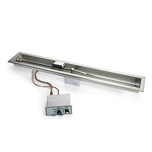 Linear drop-in trough burner push button ignition system