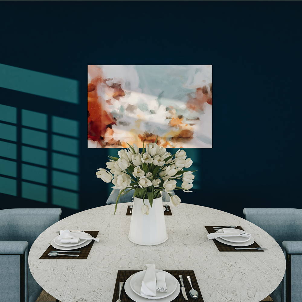 Large scale  neutral artwork for navy blue dining room - monochromatic dining room - art by p.vargas of Parima Studio