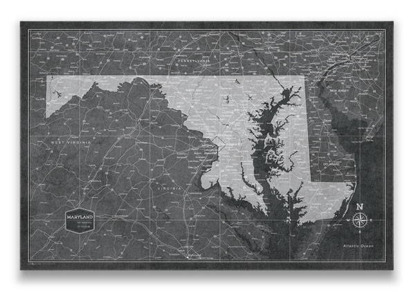 Maryland Push pin travel map modern slate