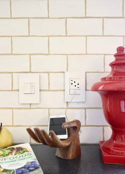 Legrand adorne kitchen power outlet and dimmer switch example