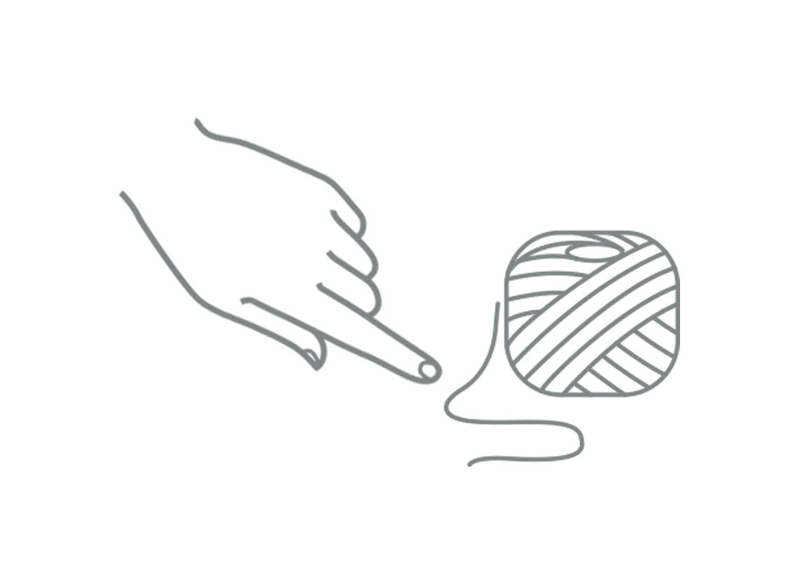 Line drawing of a pointed finger and string