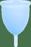 Blue menstrual cup.