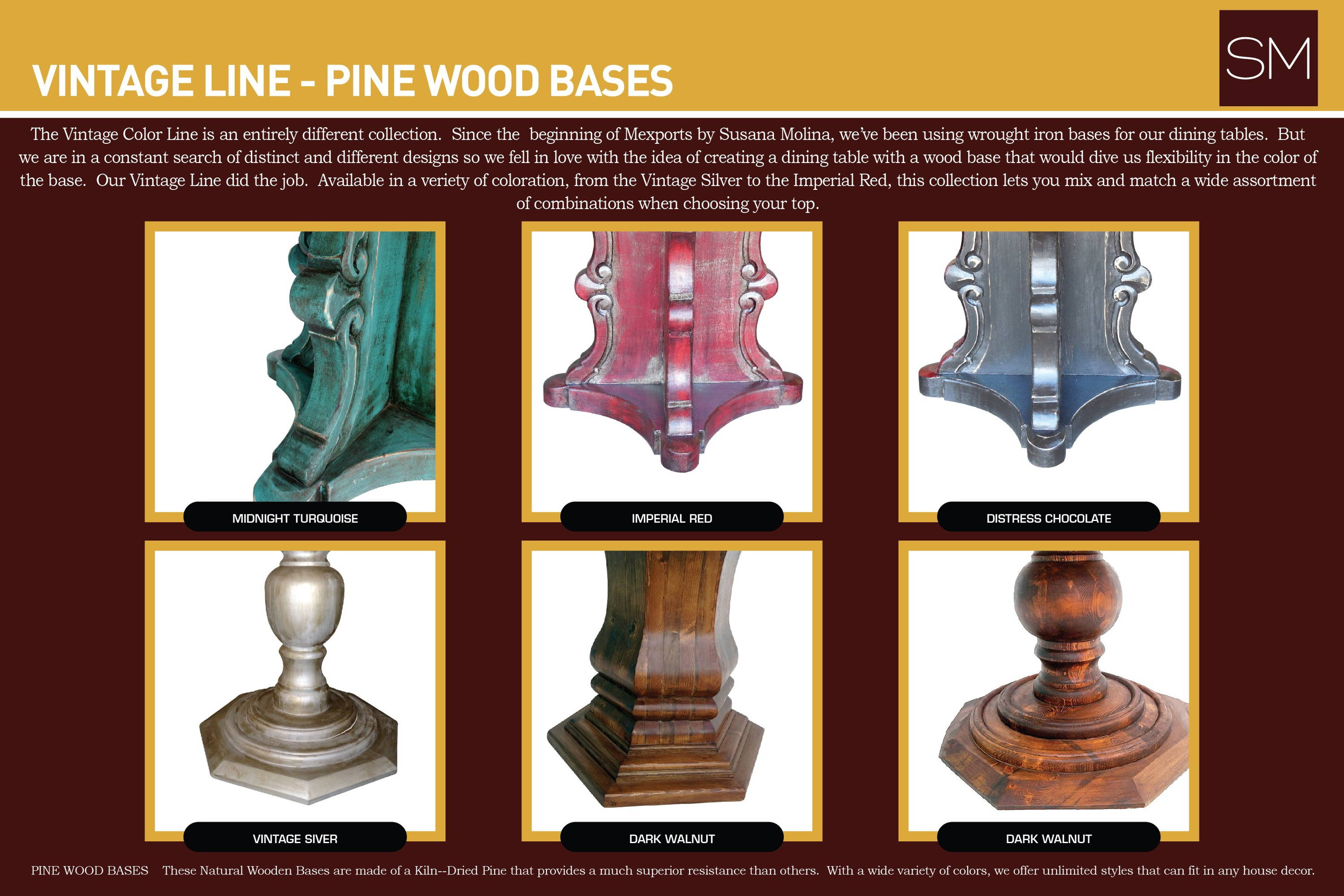 Vintage line - pinewood bases - midnight turquoise, imperial red, distress chocolate, vintage silver, dark walnut
