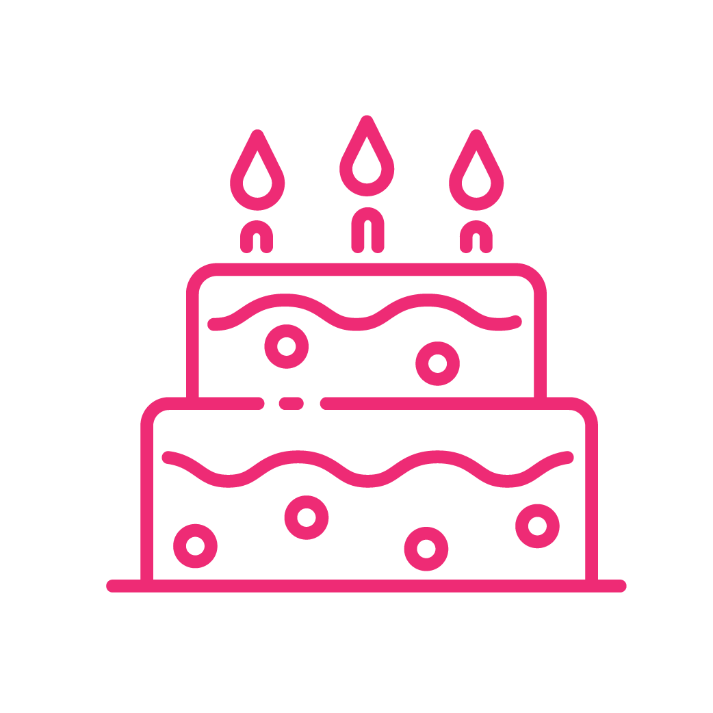 neon birthday cake icon