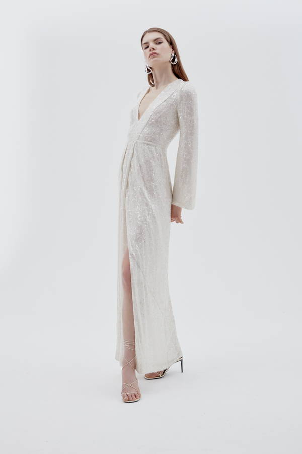 Galvan London Bridal Deep Neckline With Bell Sleeves White Sequin Gown
