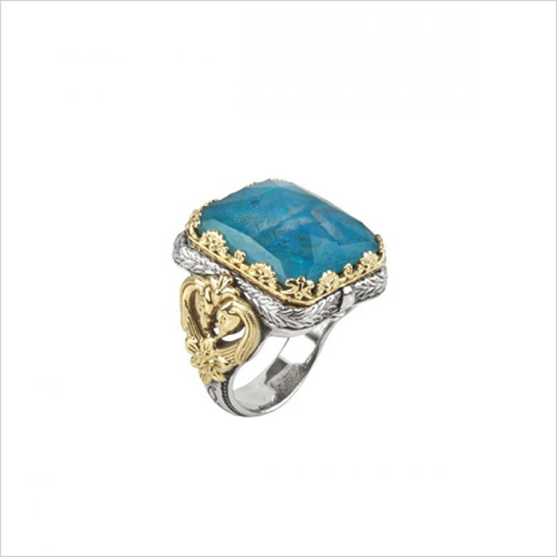 Sterling Silver & 18K Gold Ring with Chrysocolla Doublet