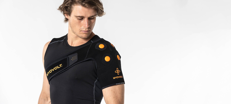 Man wearing Myovolt Shoulder