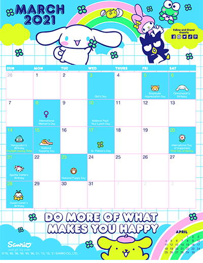 Sanrio's March Friend of the Month Calendar!