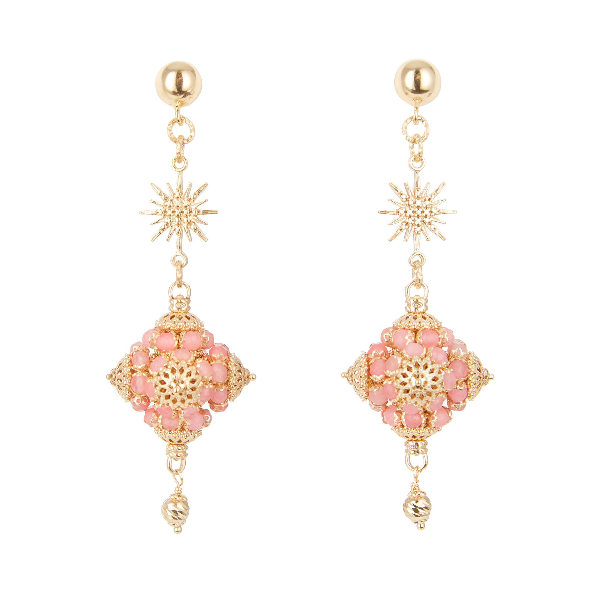 SORU JEWELLERY LOREDANA EARRINGS, SORU PINK AND GOLD EARRINGS, SICILIANA SORU