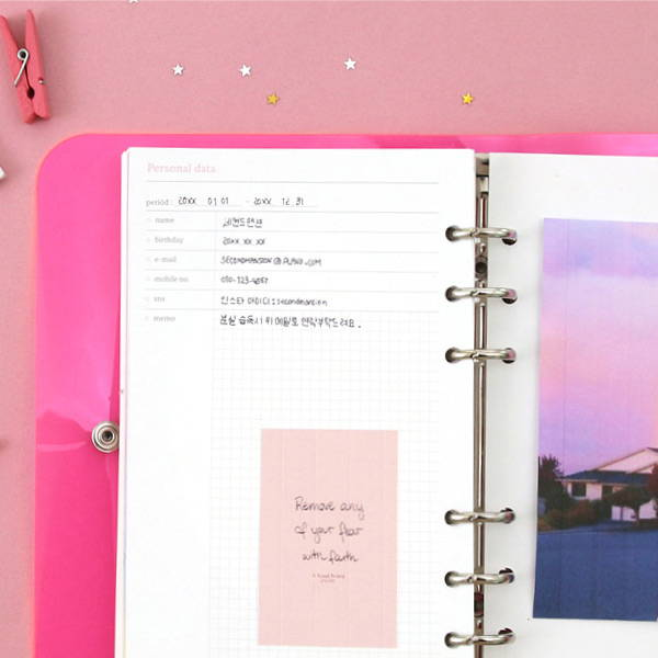 Personal data - Second Mansion Neon retro A6 6 ring dateless weekly planner