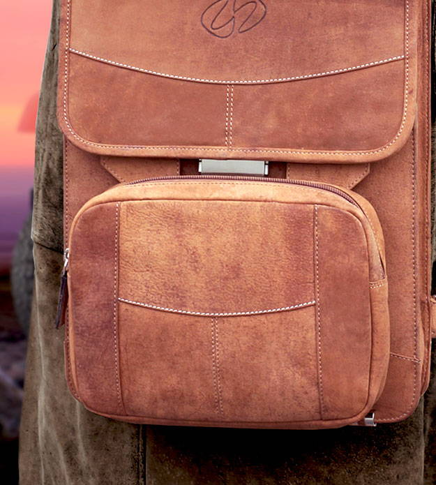 optional large pouch for the vertical leather briefcase backpack