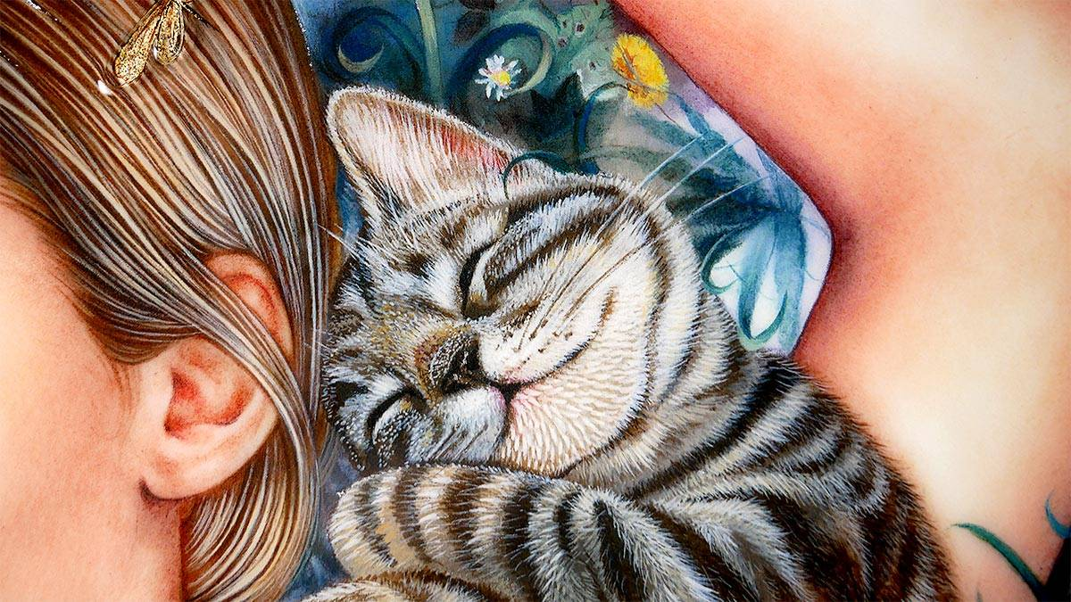 Painted closeup of a sleeping cat and part of woman's portrait.