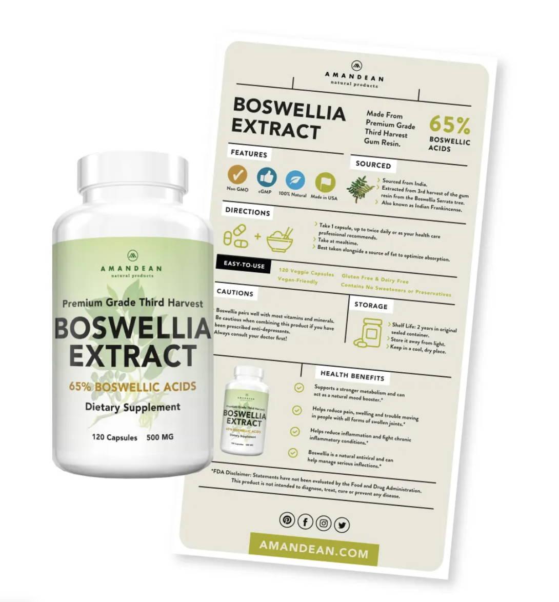 Amandean Premium Third Grade Harvest Boswellia Serrata Extract Info Sheet