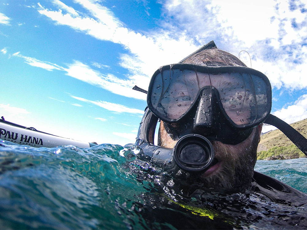 surfacing after spearfishing