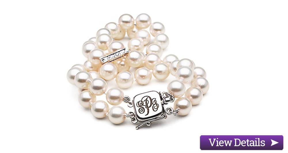 Akoya Pearl Jewelry Styles: Monogrammed Pearl Bracelets