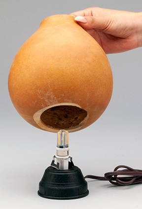 Each Craft-Ready Gourd Lamp comes with the hole pre-drilled in the bottom to make your gourd fit snugly over the base, and the gourd has been sanded on the bottom so it sits straight!