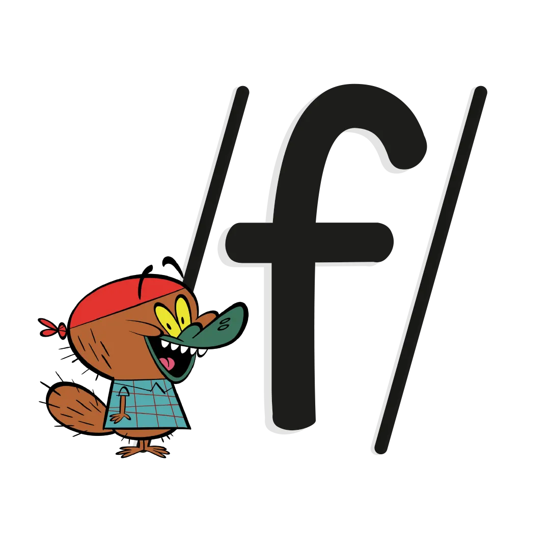 Illustrated character next to the phoneme /f/