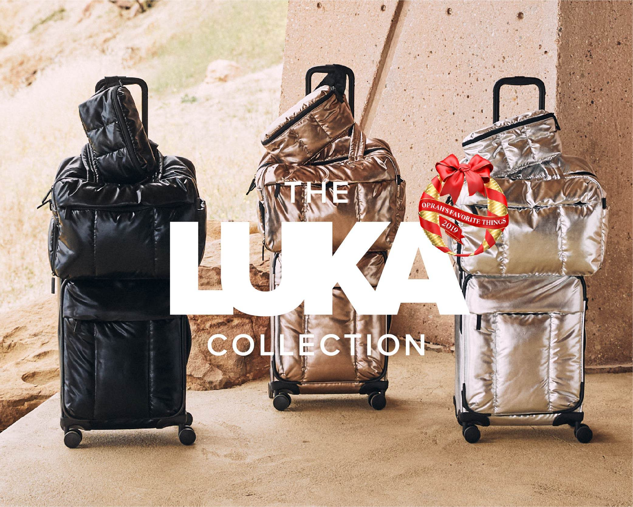 Luka Duffel, Belt Bag and Carry-On Luggage in Bronze, silver and black with text overlay