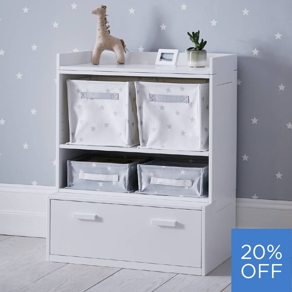white stackable toy storage with drawer