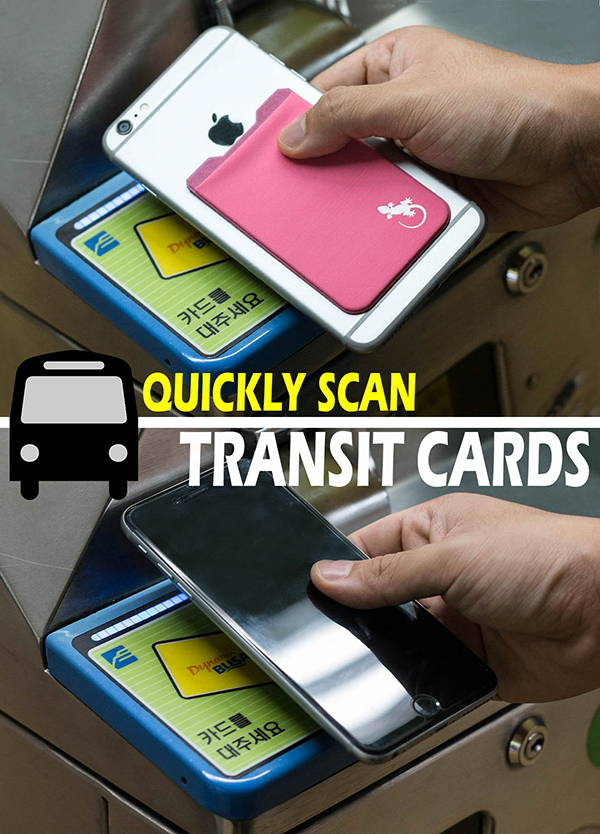 Adhesive Phone Wallet by gecko holds transit cards for fast access in the subway or bus