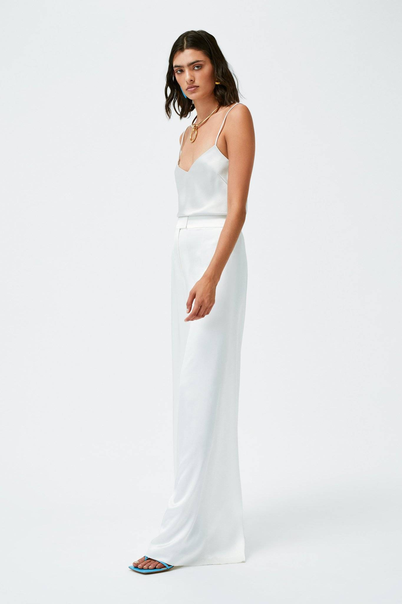 Galvan London Wide Leg Satin White Trousers